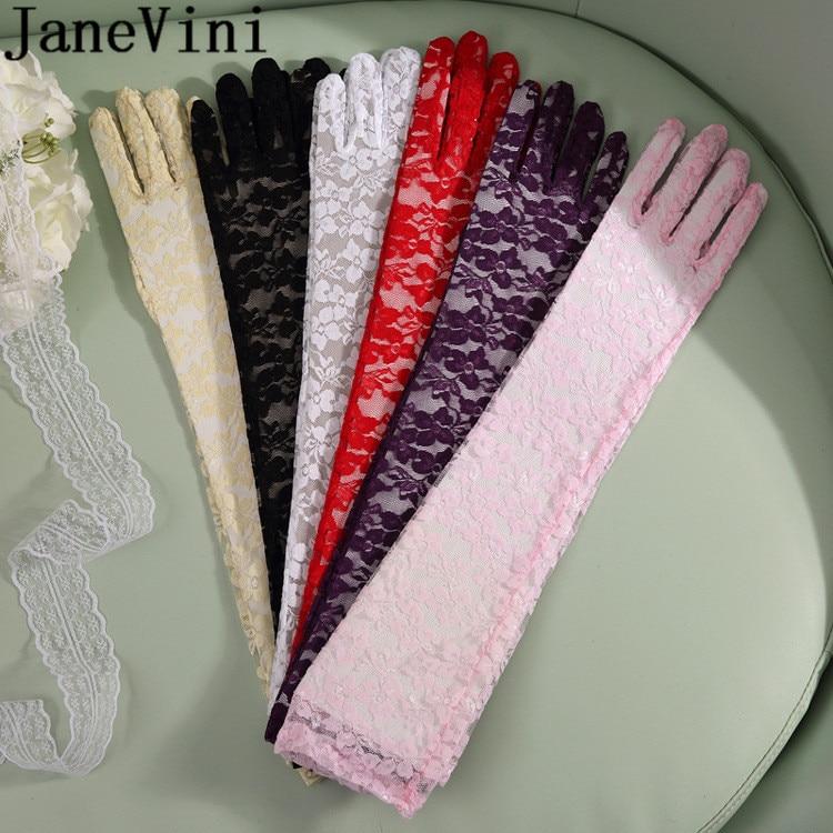 "JaneVini 23.5 ""Rosa Longo Rendas Luvas de Noiva Luvas de Casamento 60 cm Preto Partido Mulheres Brancas Luvas para Noivas Accessoir de Mariage"