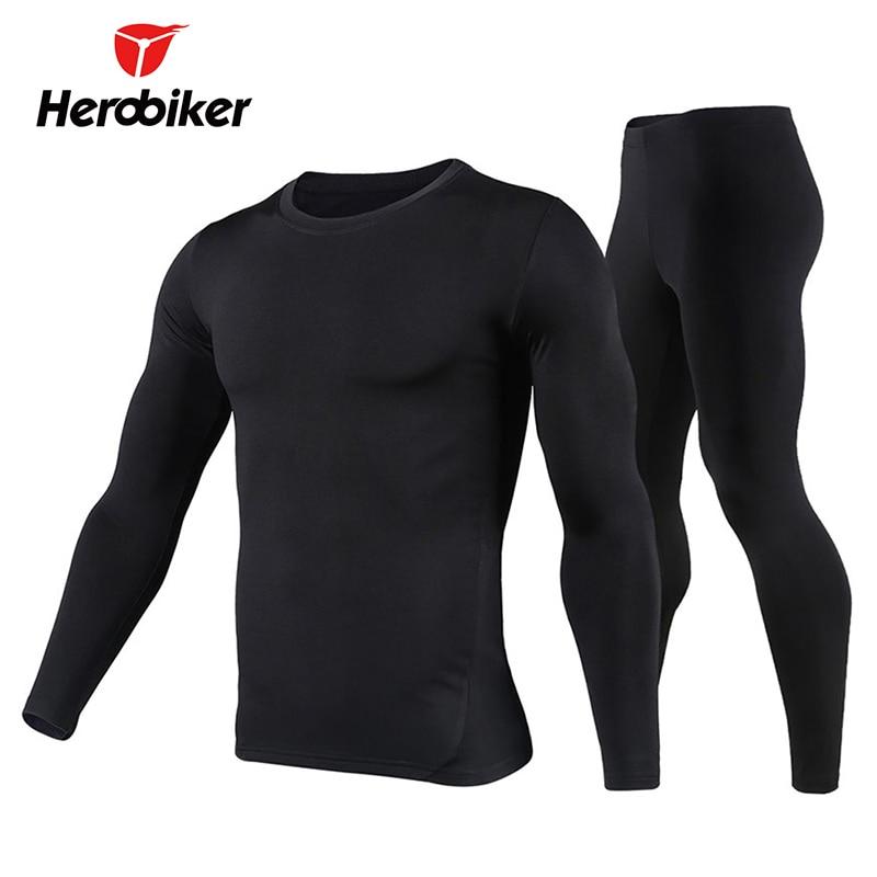Herobiker Thermal Underwear Men's Fleece Lined Set Motorcycle Base Layer Cycling Skiing Winter Warm Long Johns Top & Bottom Suit enlarge