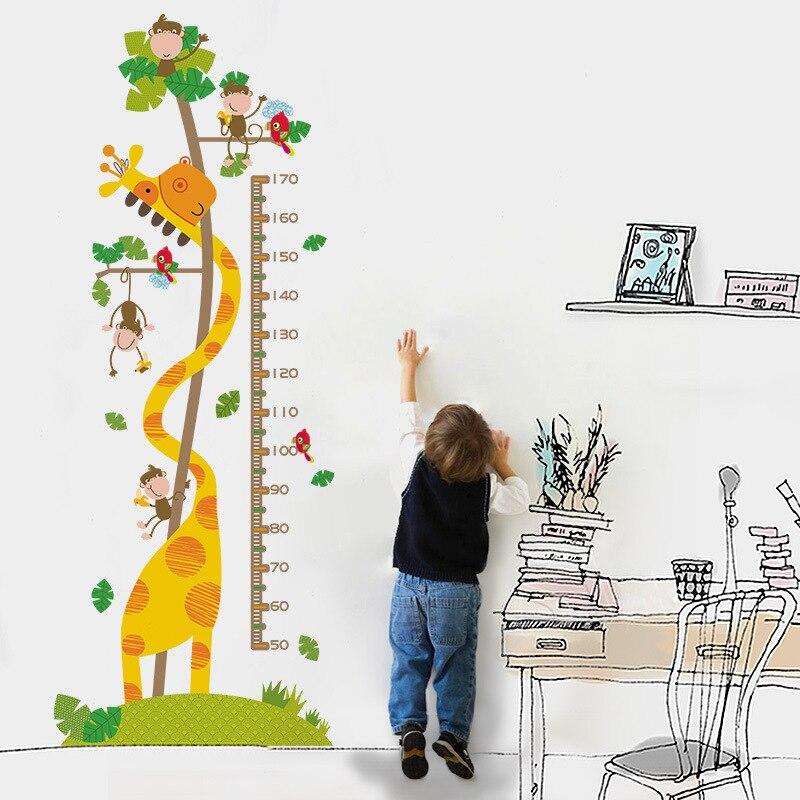 Cartoon animal height wall stickers children's room bedroom nursery living room wall painting self-adhesive wallpaper 60*160cm