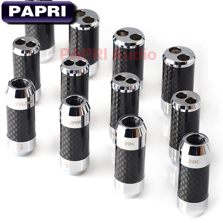 Adaptador de Cable de altavoz PAPRI de 1 Agujero a 2 agujeros, Cable divisor de Cable de auriculares actualizado, pantalones chapados en rodio de Cable de fibra de carbono 1 Uds