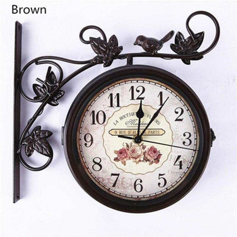 Reloj de pared al aire libre pájaro de jardín Reloj de pared lateral doble de hierro forjado Reloj de pared movimiento silencioso creativo pared hogar