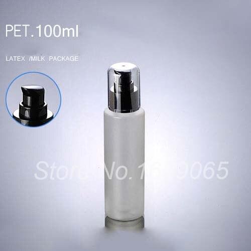 Nuevo 100ml PET botella dispensadora con pulsador w Negro Tapa f suero/de la loción/de la emulsión/gel de la esencia/Embalaje de cosméticos botellas recargables