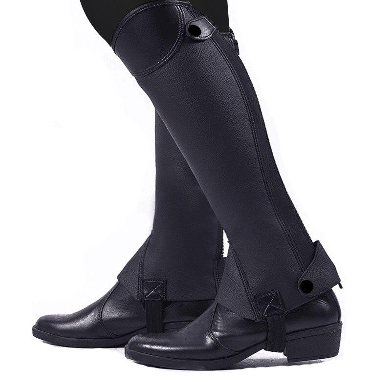 Cuero suave ecuestre montar a caballo polainas 1 par medio chapon cubre piernas al aire libre equitación equipo Protector de pierna de carreras