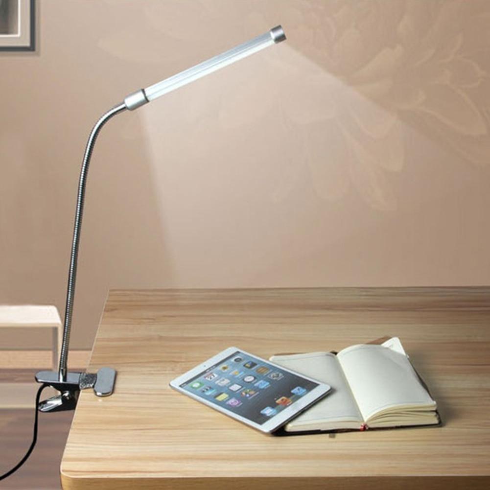 Lámpara de mesa con Clip interruptor de brillo de dos niveles regulable lámpara de estudiante Flexible ajustable USB LED cortadora lámpara de escritorio