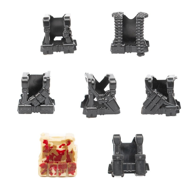 Военные строительные блоки SWAT, тактические жилеты WW2, специальная полиция, Land Force, пуленепробиваемый жилет, боевые кубики MOC C024