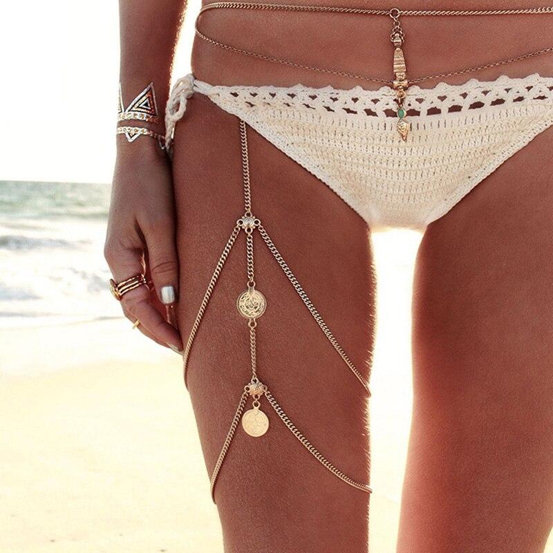Ouro prata cor perna correntes tornozeleiras mulheres praia tornozelo pulseiras multicamadas borla coxa corrente flor moeda charme jóias do corpo