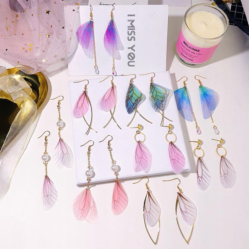 Literary Trend Pearl Drop Earring Pink Chiffon Butterfly Wings Earrings for Women Girls Oorbellen