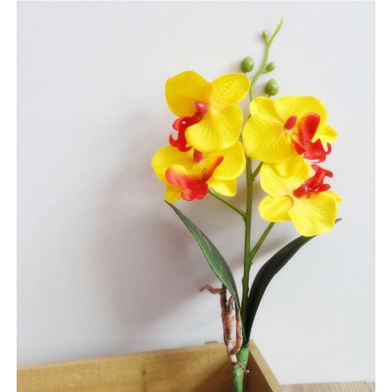 28 см 4 головки бабочка Орхидея, искусственные цветы в горшке растения искусственные цветы из шелка филиал фаленопсис домашний стол офисный Декор