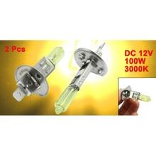 2 Pcs DC 12V 100W H1 3000K Super Yellow LED Fog Light Bulb Lamp