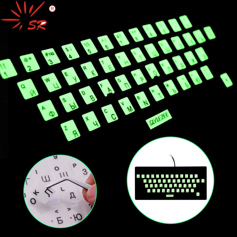 SR Luminous Waterproof Russian Language Keyboard Stickers Protective Film Layout with Button Letters