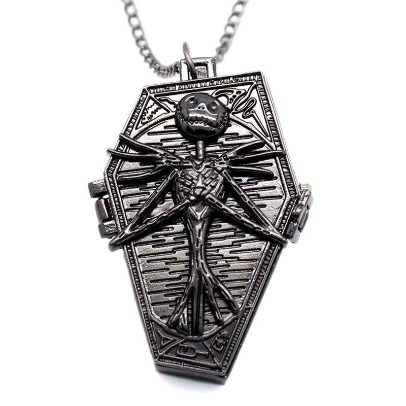 Cadeau de noël montre de poche Style gothique nouveau Style le cauchemar avant noël collier montre de poche horloge chaîne heures hommes femmes