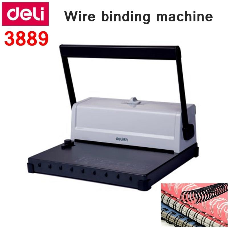 Máquina de encuadernación Manual de doble bucle Deli 3889, máquina de encuadernación financiera, 34 agujeros, 125 páginas, perforación vinculante, 15 páginas