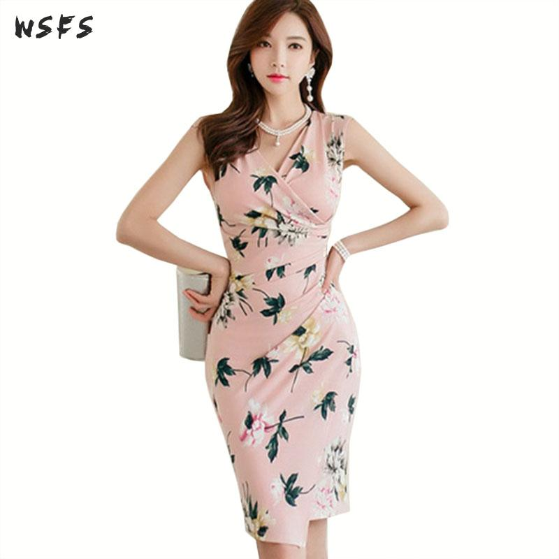 Verão rosa floral impressão vestidos vneck sem mangas das mulheres vestido senhora do escritório sexy festa bodycon elegante coreano midi envoltório roupas
