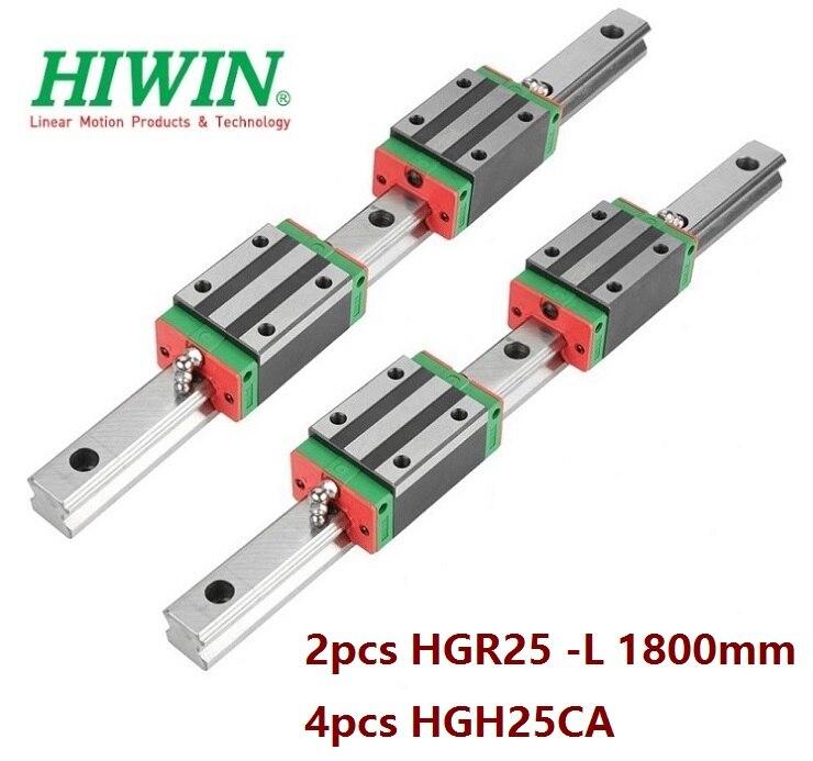 2 piezas 100% Original nuevo Hiwin HGR25-L 1800mm guía lineal/carril + 4 piezas HGH25CA lineal bloques estrechos para enrutador CNC