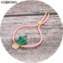 Go2boho MIYUKI Bracelet Pulseras Mujer Moda 2019 Delica perles rose vert Cactus Bracelets Cactus femmes bijoux fait main cadeau