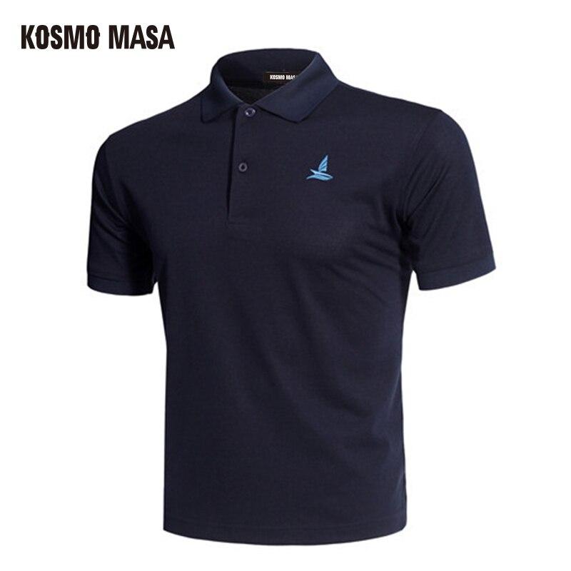 Polo negro transpirable KOSMO MASA de manga corta informal de verano sólido Camiseta Polo hombre Dry Slim Fit Polos para hombres MP0001