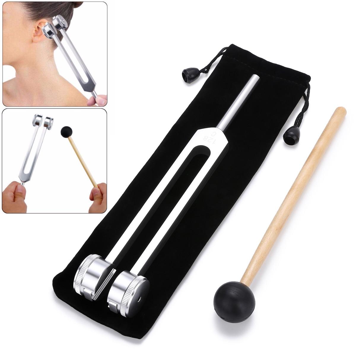 Диагностический инструмент для звуковой и лечебной терапии, 1 шт., алюминиевый сплав, серебро, настраиваемая вилка 128 Гц, шаровой молоток чак...