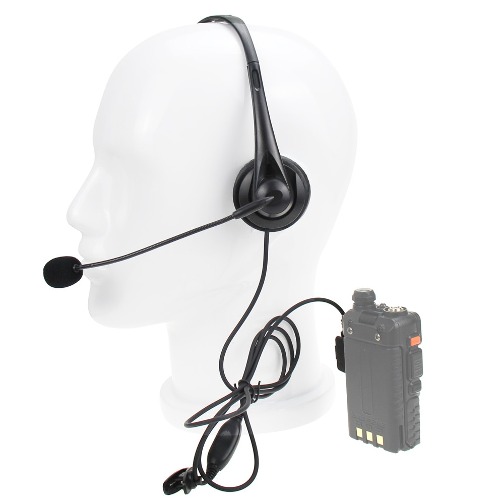 Universal K Plug Over Ear Headphone Walkie Talkie Noise Reduction Two Pin PTT Headset For kenwood Baofeng BF-UV5R BF-888S enlarge