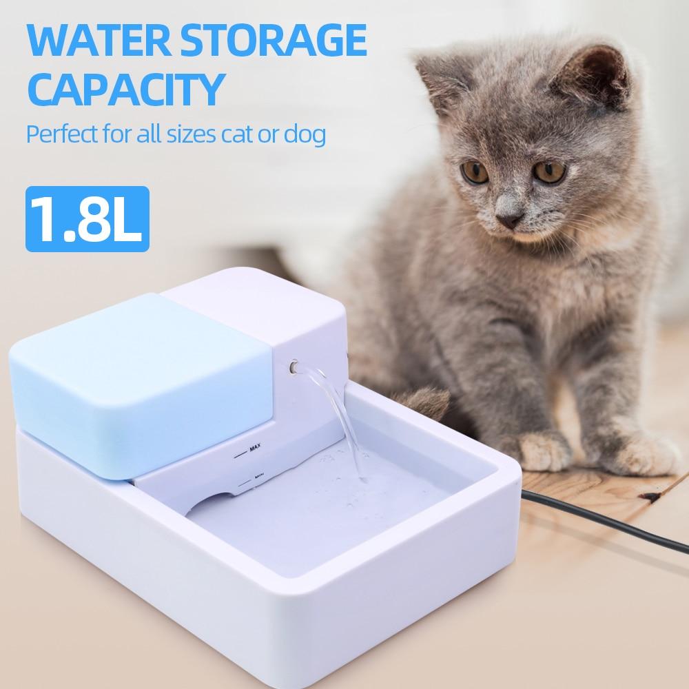 Fuente de agua automática para perros de 1.8L, fuente de beber para mascotas, luz LED UV, enchufe estadounidense, fuente de agua eléctrica, dispensador de agua Gato
