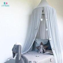 코튼 베이비 침대 그물 여름 쉬폰 단색 아기 모기 돔 텐트 침대 커튼 어린이 방 장식 침구 세트