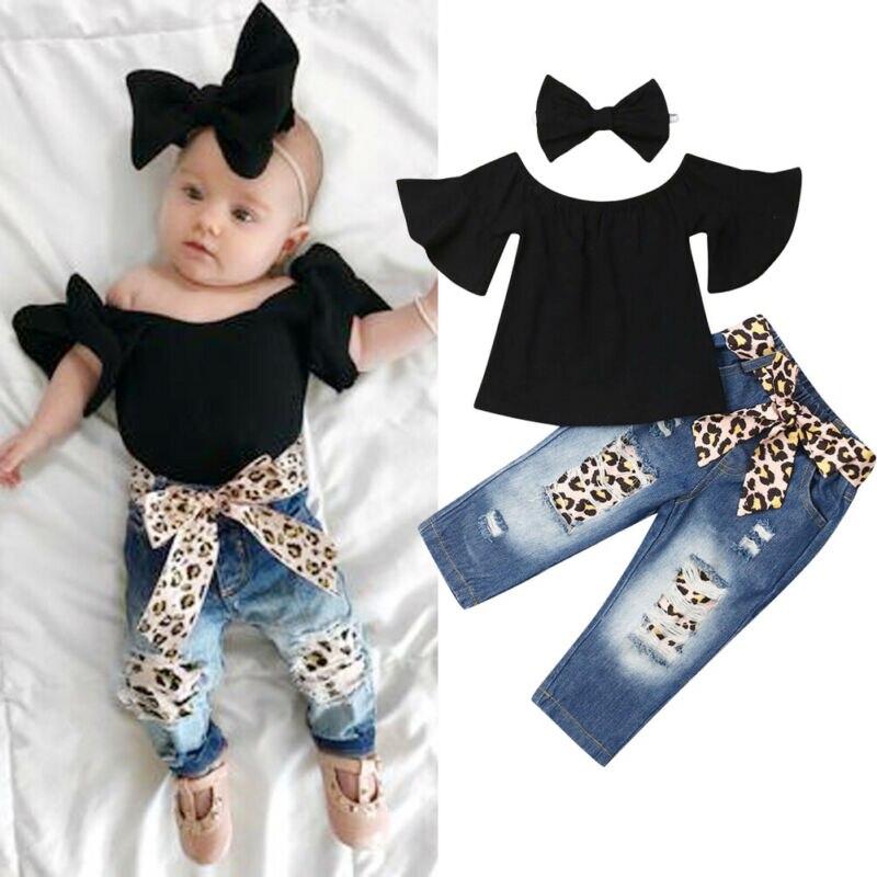 3 2019 PCS Conjuntos de Roupas de Verão Do Bebê Dos Miúdos Meninas Tops Off-Ombro T-Shirt Leopardo Rasgado Calças de Brim Headband Outfits terno