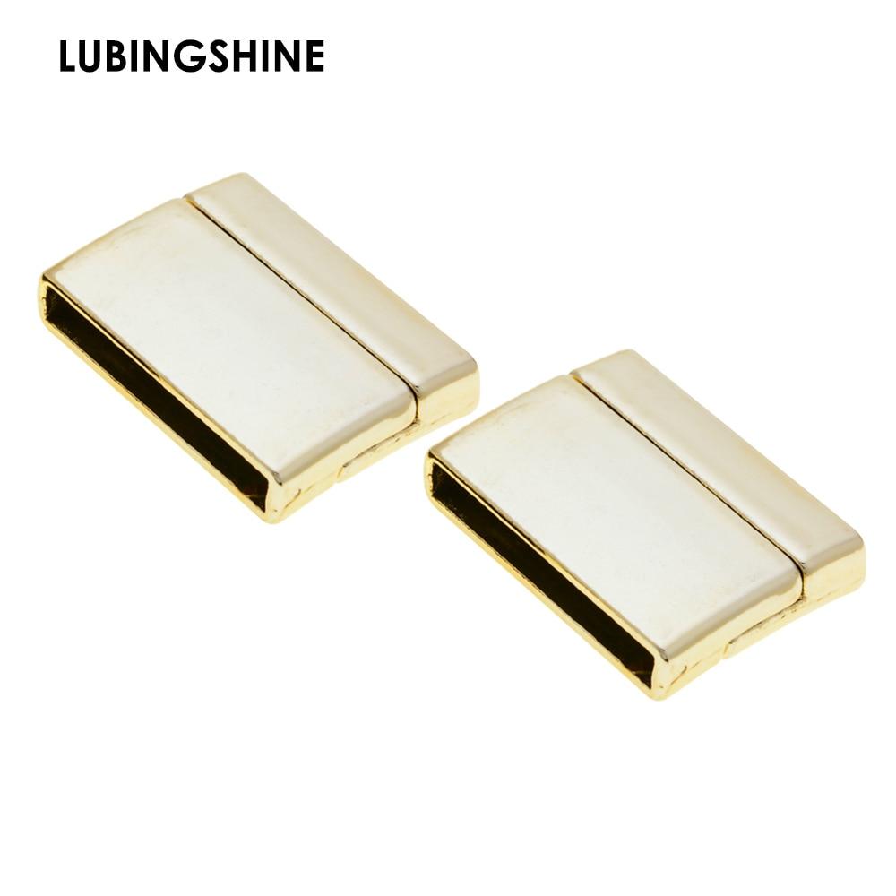 Descobertas de jóias diy pulseira fecho magnético couro cabo pulseira fecho conectores buraco plano 25*2.5mm atacado jjal c112
