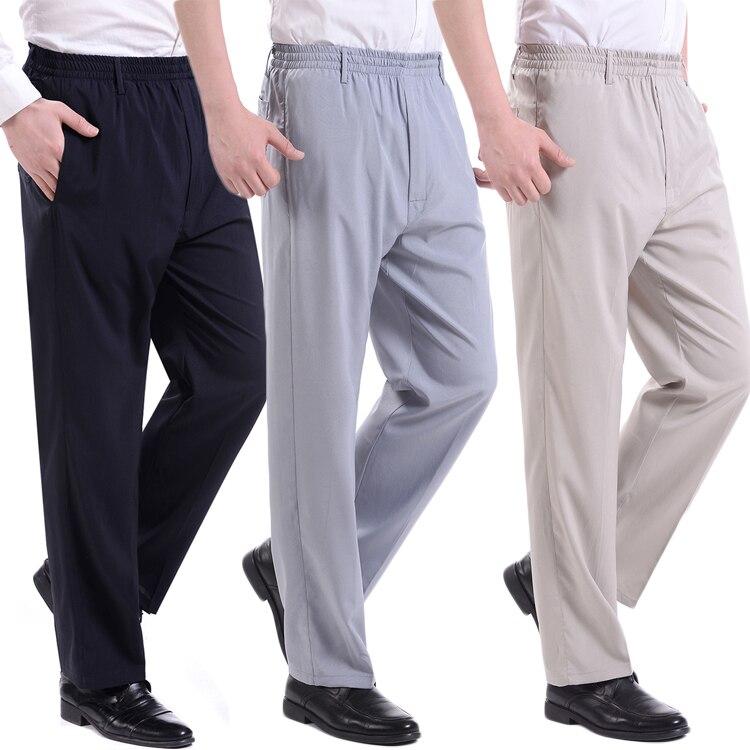 HOT2018 verano al aire libre emulación masculina elástica delgada gente de edad avanzada slacks cintura grasa hombres viejos pantalones de ejercicio talla 10X