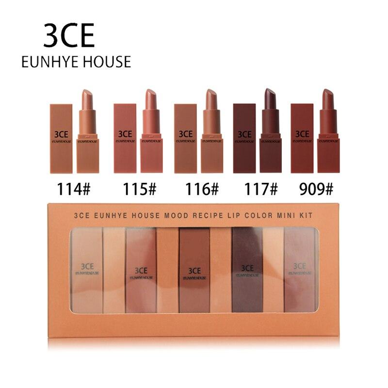 3CE EUNHYE HOUSE Matte Lipstick Set Waterproof Long Lasting Red Lips Velvet Lip Gloss Tint Pigment Lip Cosmetic Makeup set