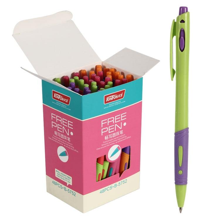 48 Pcs/box, Plastic Ballpoint Pen Blue Ink 0.7mm Ball Pen Office Accessory Material Escolar Exclamation Mark Ball Pen Stationery