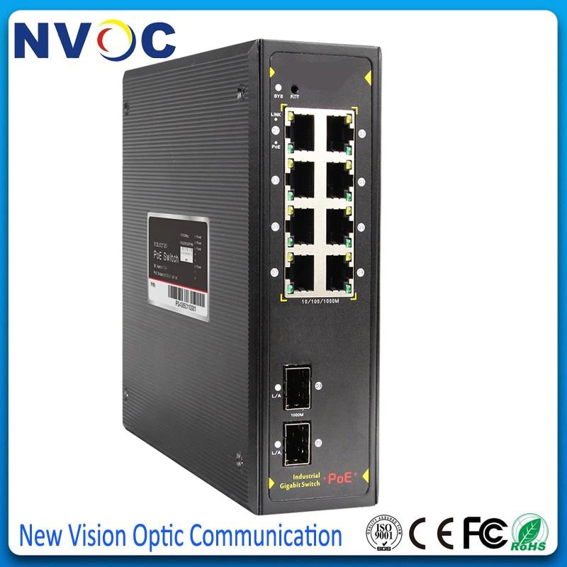 Puerto 10 ONV Gigabit Ethernet Industrial POE interruptor 48V interruptor de Ethernet POE 8 Port 10/100/1000M no gestionado Industrial interruptor de PoE