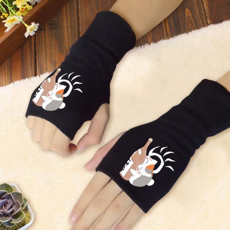 1 par Kawaii Anime Natsume Yuujinchou guantes Nyanko Sensei gato medio dedos guantes tejidos mitones Cosplay peluche