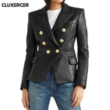 2019 nouveau Style haute rue veste en simili cuir femmes automne hiver à manches longues Double boutonnage mince noir Biker veste survêtement