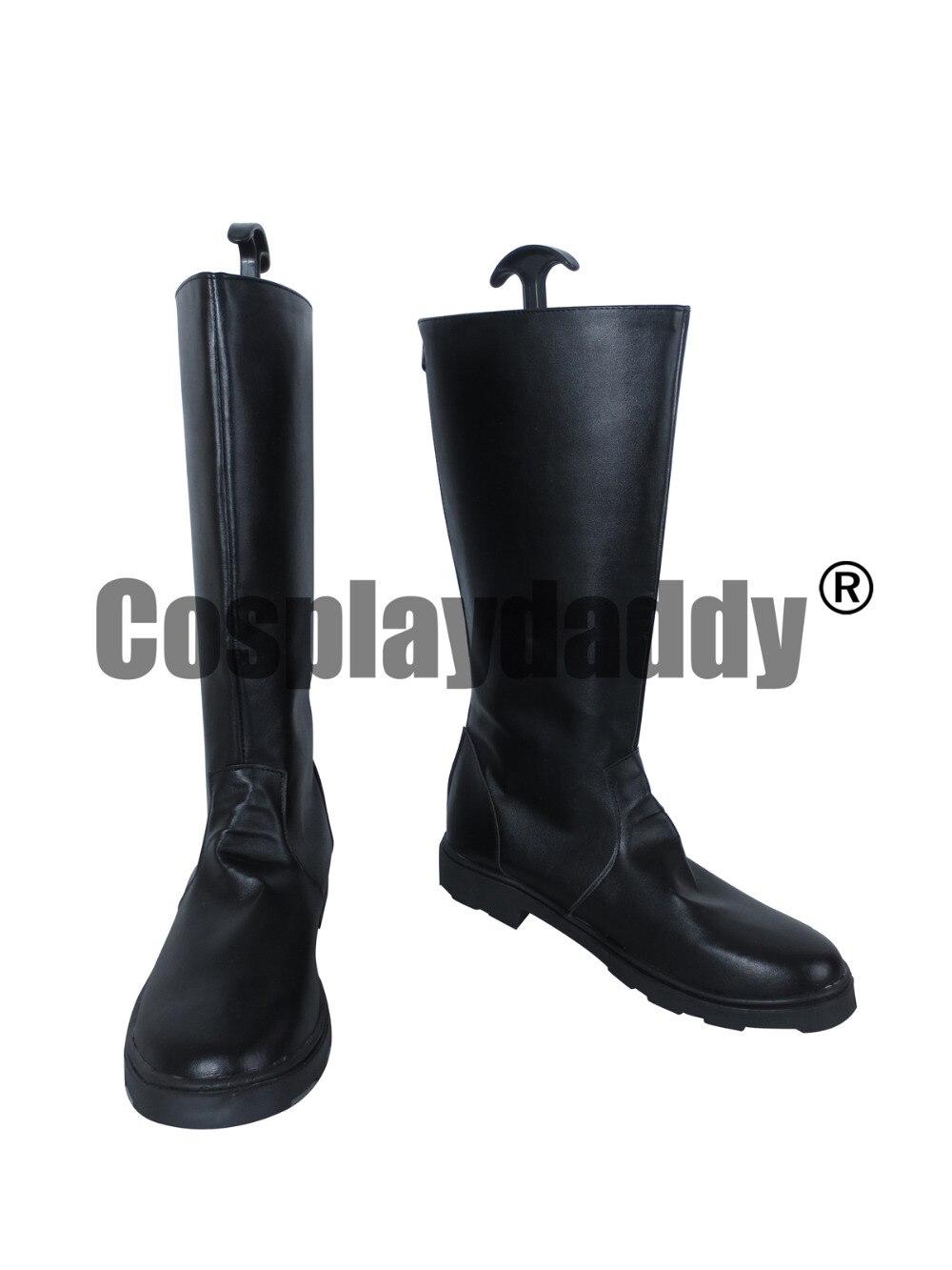 Fullmetal alquimista Roy Mustang cuero negro largo Cosplay zapatos botas X002