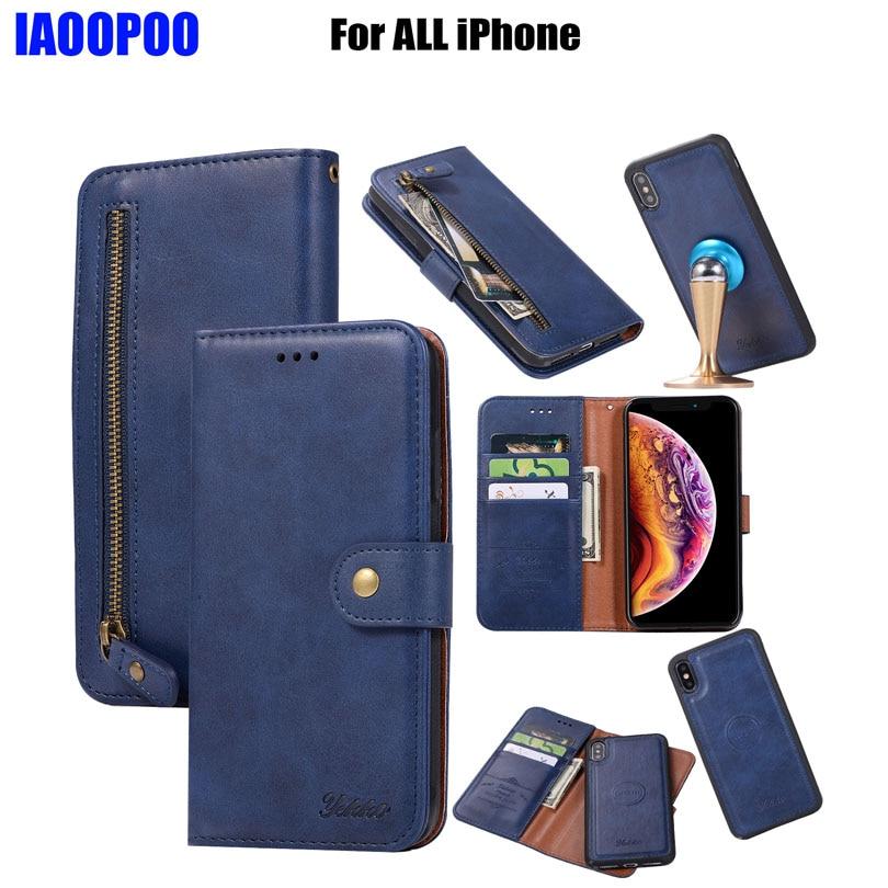 Luxo 2in1 zíper carteira bolsa de couro caso para iphone x xs max xr 8 7 plus 6 s plus ímã design capa