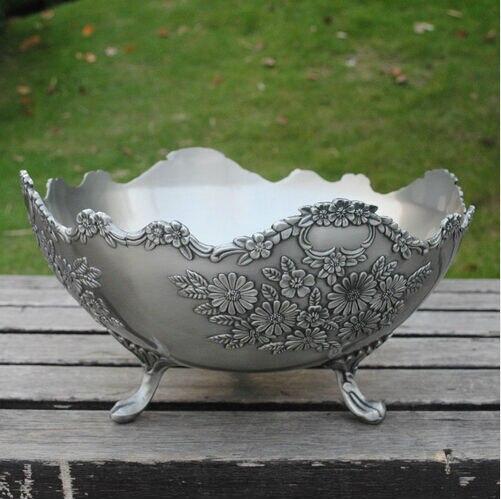 diameter 30cm  retro flower carved wavy metal fruit tray decorative fruit bowl decorative food trays for home decoration sg062