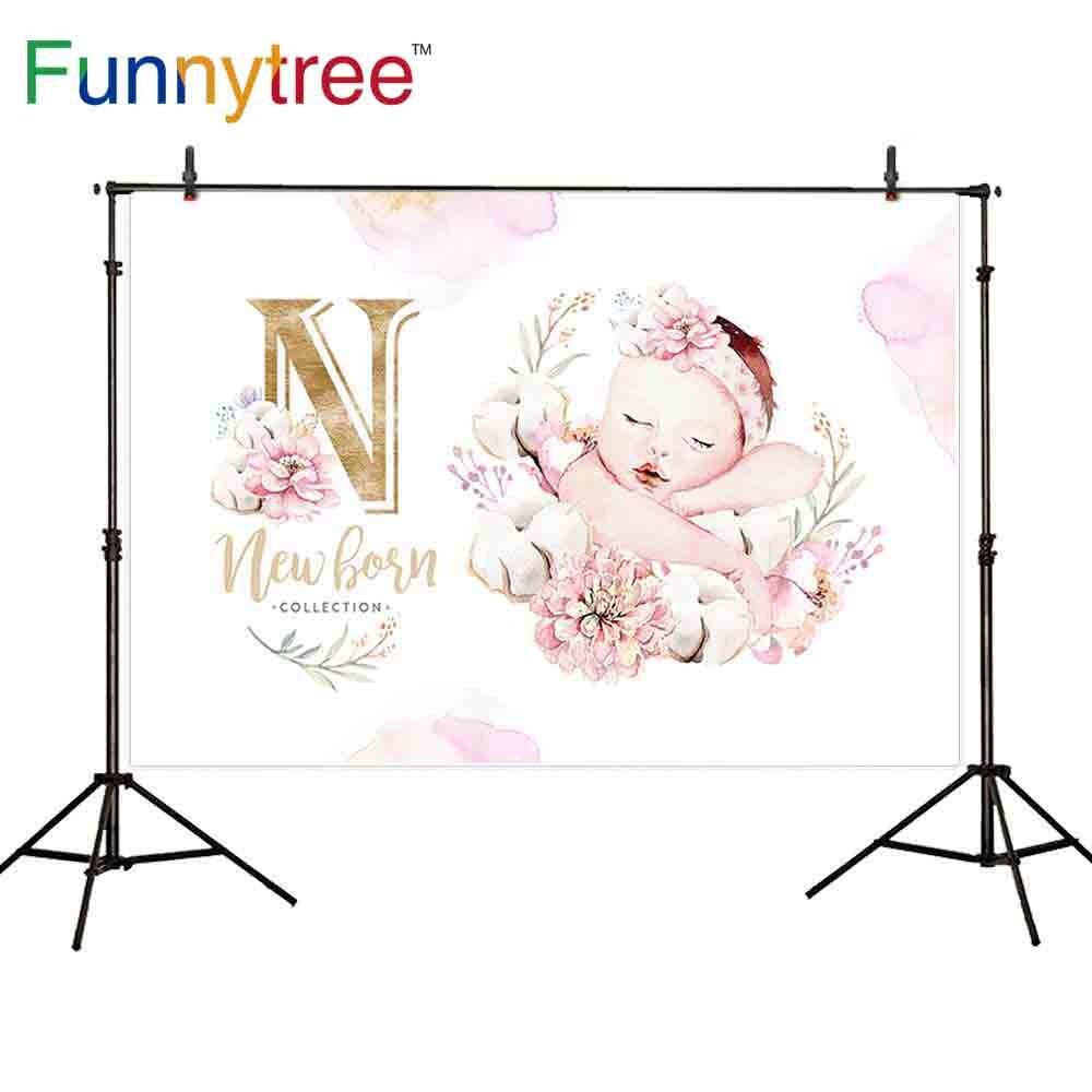 Funnytree Fondo para la foto dispara acuarela rosa de oro lindo bebé recién nacido de fiesta de cumpleaños de papel photophone