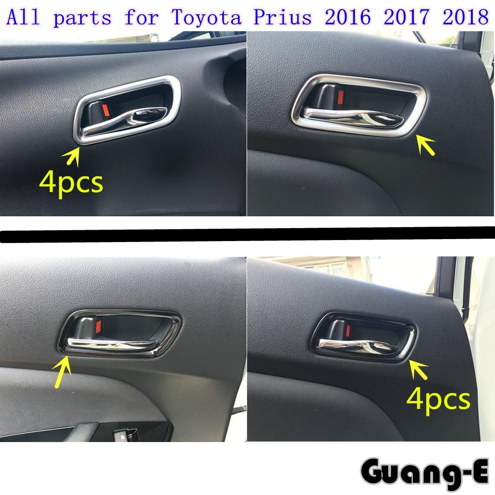 Embellecedores de barra detectora de diseño para coche, cuenco con manija interior de puerta cromada ABS, moldura para luz, capuchas 4 Uds para Toyota Prius 2016 2017 2018