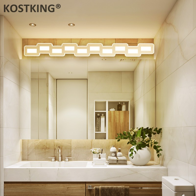 Luz de espejo led nórdica 400-1200mm Hardware + lámpara de baño acrílica dormitorio iluminación cosmética hotel foyer led Baño lámpara
