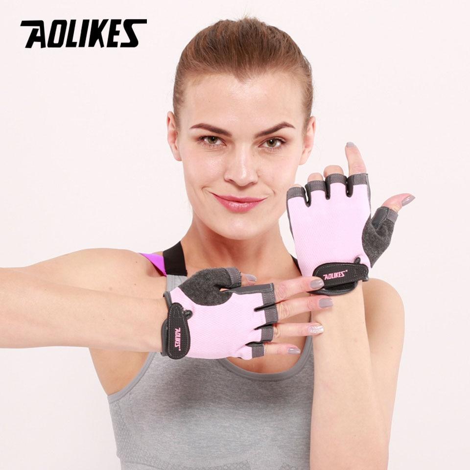 AOLIKES 1 זוגות חצי אצבע כושר כפפות כושר כפפה לשני המינים למבוגרים יד הרמת משקולות ציוד תרגיל עבור גברים & נשים