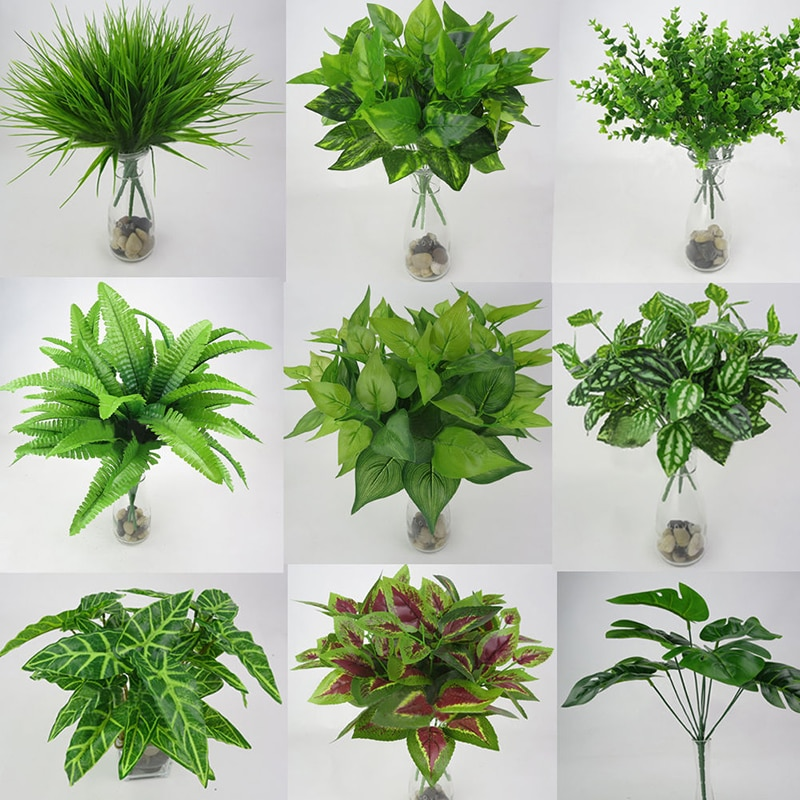 AliExpress - 1pc Artificial Plant Flower with Leaf Plastic Green Grass Tree Plant Fake Leaf Foliage Bush for Home Wedding Hotel Party Decor