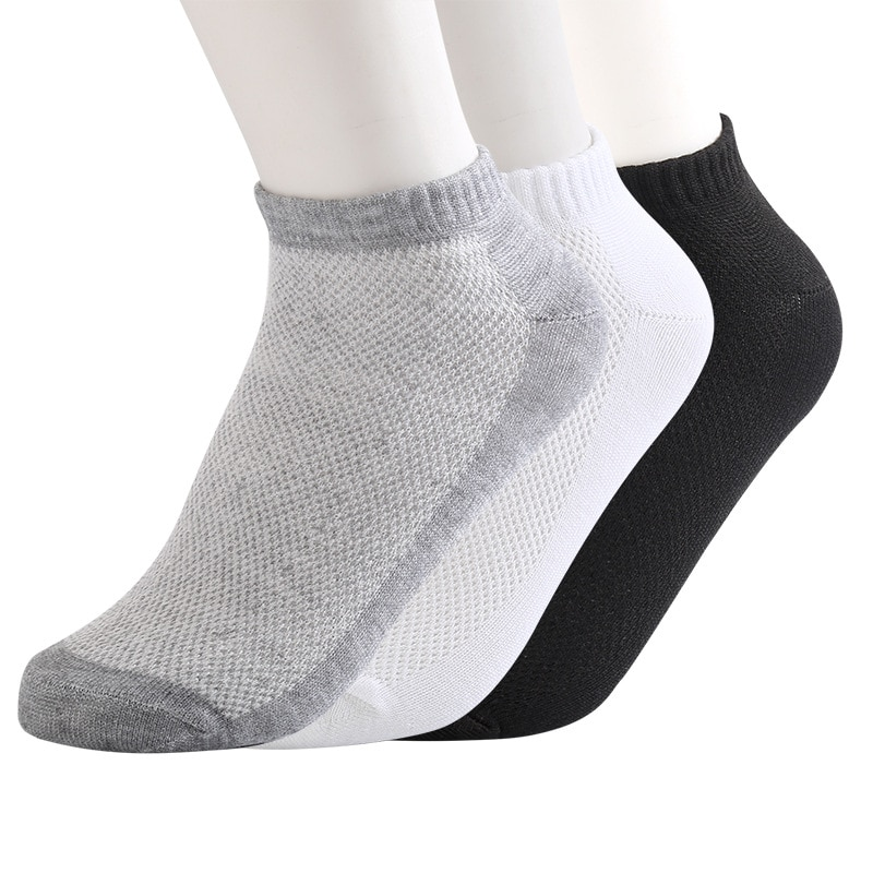 20 pçs = 10 par malha sólida meias masculinas invisível tornozelo meias homens verão respirável fino barco meias tamanho eur 36-44 preço barato avaliado