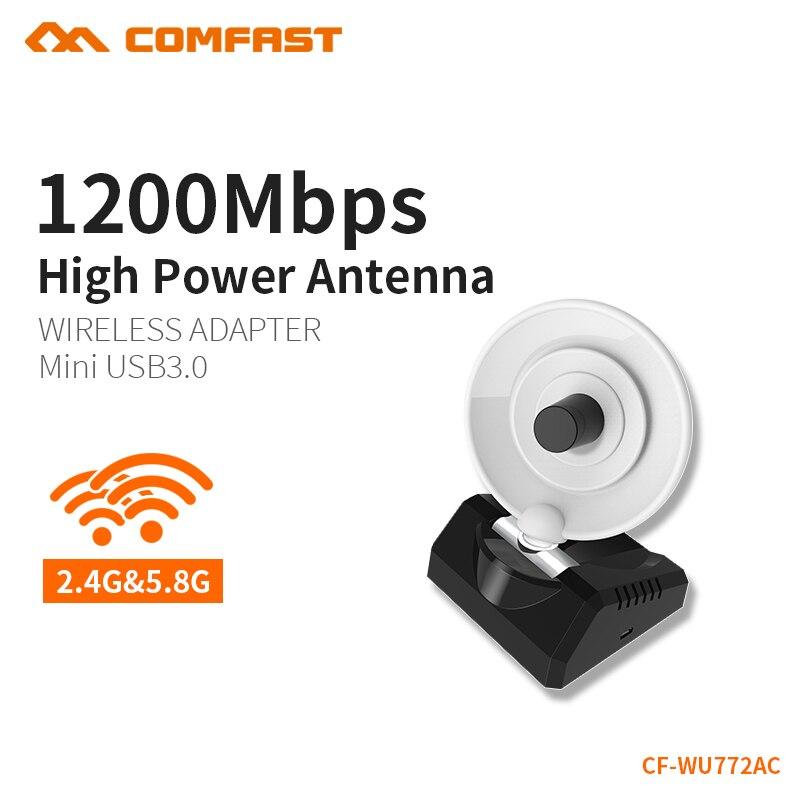 COMFAST High Gain Wifi Adapter 5,8G 1200mbps Dual Band PC Empfänger 10dBi Wi-fi USB 3,0 Antenne Windows 7 8 10 MAC OS CF-WU772AC