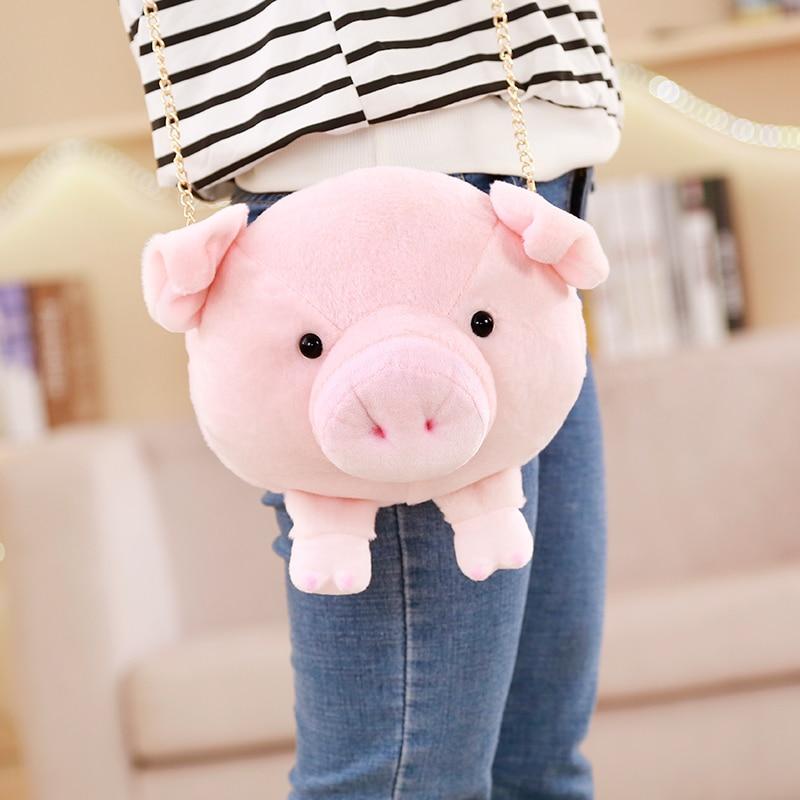1pc 22cm * 22cm Kawaii cerdo Cartera de bolso de peluche de felpa de cerdo bolsillo bolsa Crossbody bolsa juguetes de las niñas, regalos de cumpleaños