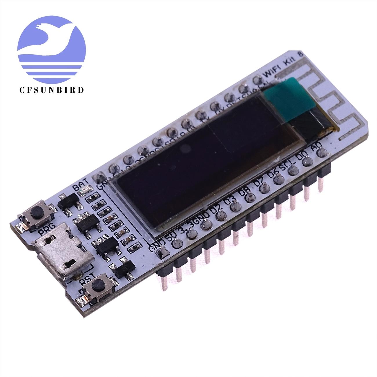 CFsunbird ESP8266 Chip WIFI 0,91 pulgadas OLED CP2014 32Mb Flash ESP 8266 Módulo de Internet de las cosas de PCB para NodeMcu
