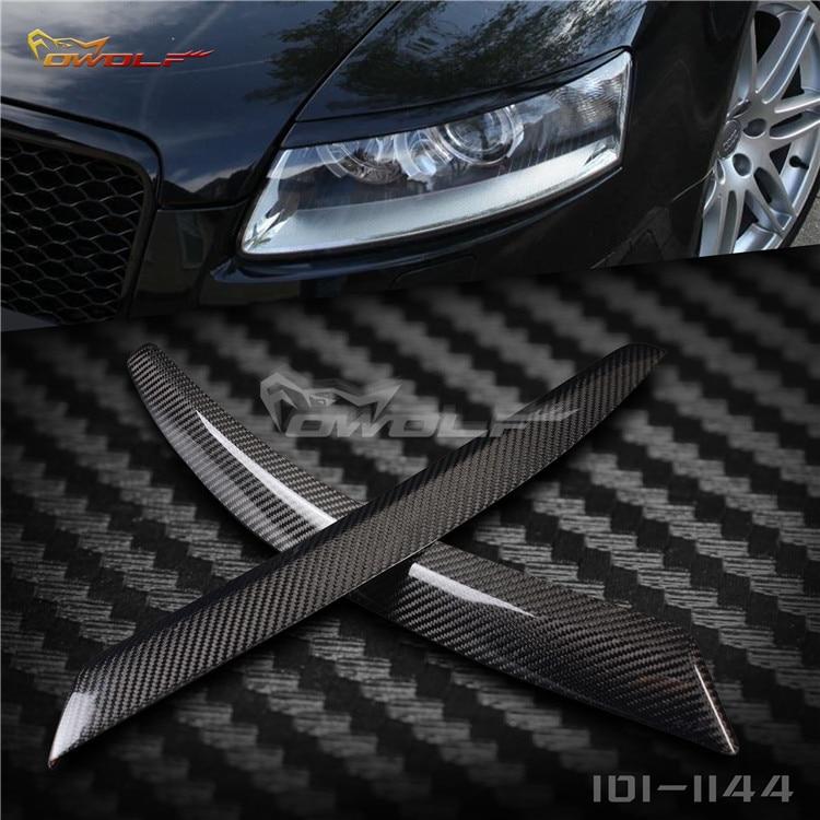 Apto para Audi A6, C6, 4F, 04-11, ceja de fibra de carbono