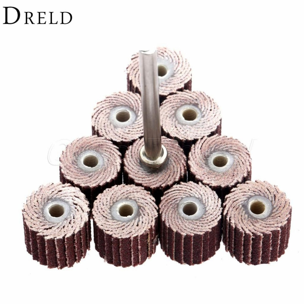 10 sztuk akcesoria Dremel 240-ziarnistość ściernica listkowa szlifowanie szlifowanie ściernice listkowe szczotka piasek narzędzie obrotowe 10x10x3mm