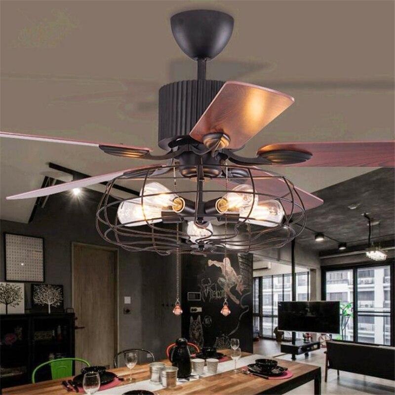 Ventilador de techo Industrial para Loft de 42 pulgadas/52 pulgadas, ventilador de habitación creativo para comedor, luz artística para Bar con Control remoto