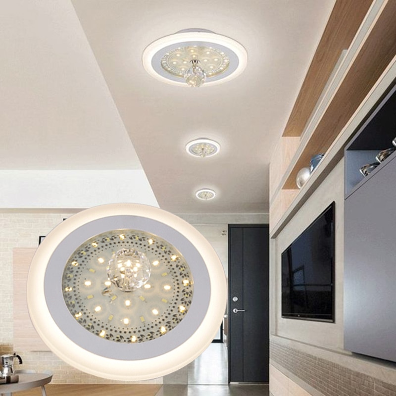 LAIMAIK Modern Crystal LED Ceiling Light 24W+18W Round Square white+Warm White double Color Led Ceiling Light Recessed LED Light modern led ceiling light square
