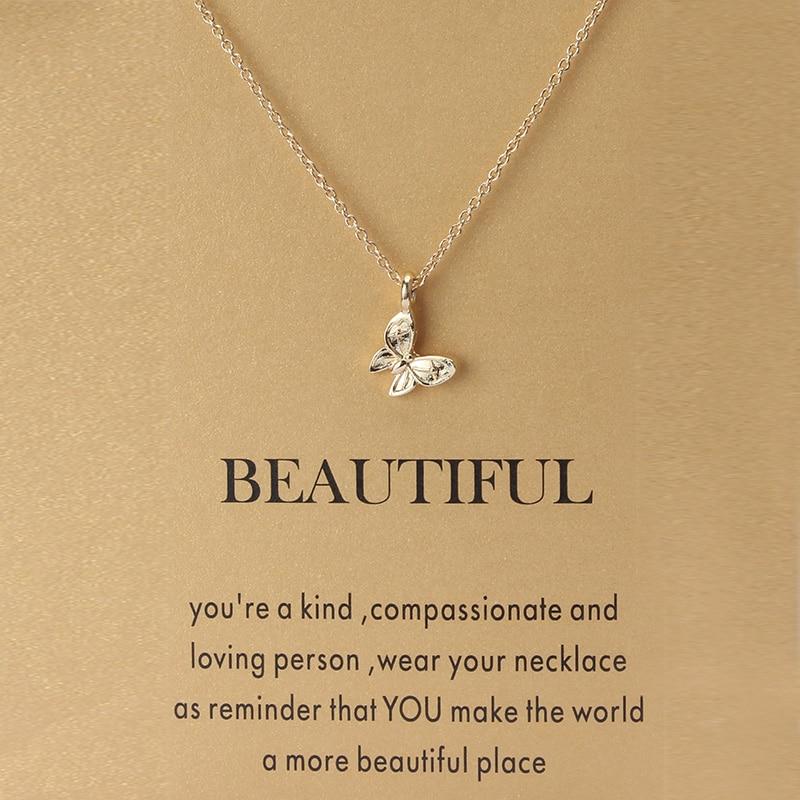 1pc Minimalistischen Schmetterling Charms Wünschen Karte Halsreif Collier Halsketten Links Ketten Gold Farbe Für Frauen Erklärung Schmuck Geschenk