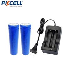 2 pièces PKCELL 18650 Bateria batterie 3.7V 2600mAh ICR18650 Li-ion Batteries rechargeables bouton haut + 18650 chargeur de batterie prise ue
